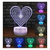 3D Illusion Lampe Nachtlichter Für Kinder LIEBE Herz LED Optische Täuschung Lampen Nachtlicht 7 Farben Touch Lichter USB Gebühr Tisch Schreibtisch Schlafzimmer Dekoration (Geburtstagsgeschenke, Weihnachtsgeschenke, Etc....),Touch