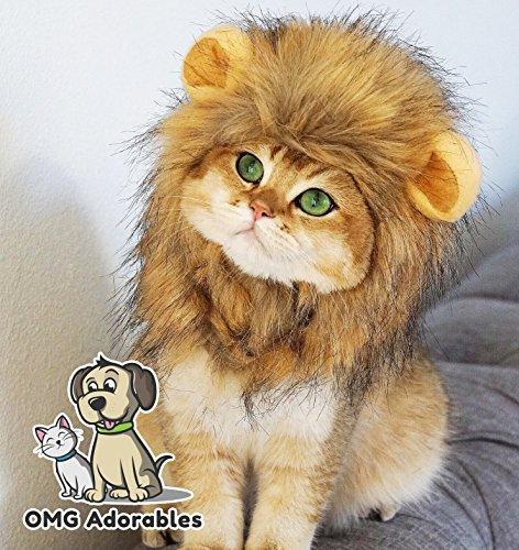 Omg adorables cyanea costume per gatti morbido,furry parrucca animali con orecchie del adatto per adulti felini cani di piccola taglia ammessi animali domestici animal safe grande marrone
