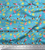 Soimoi Blau Baumwolle Batist Stoff Sonne, EIS und Cocktails