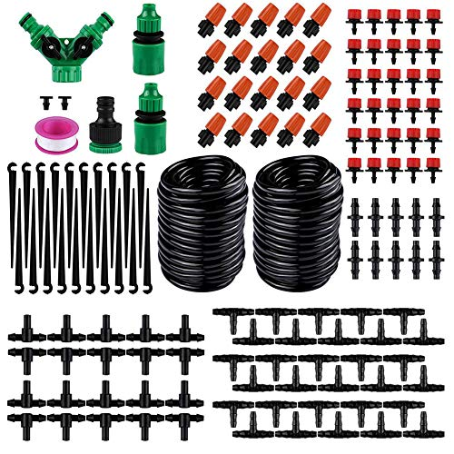 Matedepreso 30m Hose Automatic Micro Flow Drip Sprinklers System Kit Garden  Mist Cooling Irrigation System Adjustable Nozzle Automatic Watering Kits