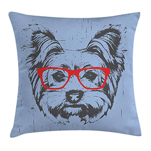 Yorkie Throw Pillow Cushion Cover by Ambesonne, Yorkshire Terrier Portrait Red Nerd Glasses Tainted Backdrop Animal, Decorative Square Accent Pillow Case, 18 X 18 Inches, Pale Blue Grey Vermilion