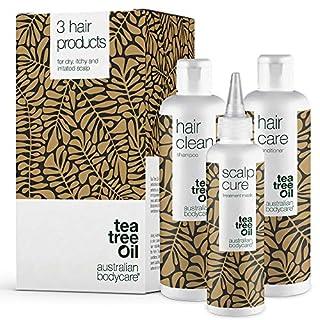 Kopfhautpflege - Set gegen Schuppen, Pickel, trockene & juckende Kopfhaut | Auch zur pflege bei Schuppenflechte und Psoriasis | Haarpflege mit Teebaumöl für alle Haartypen | Dandruff Pflegeserie