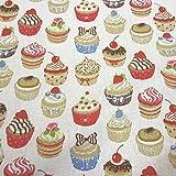 Stoff Meterware Baumwolle Muffins Cupcake weiß bunt Kuchen