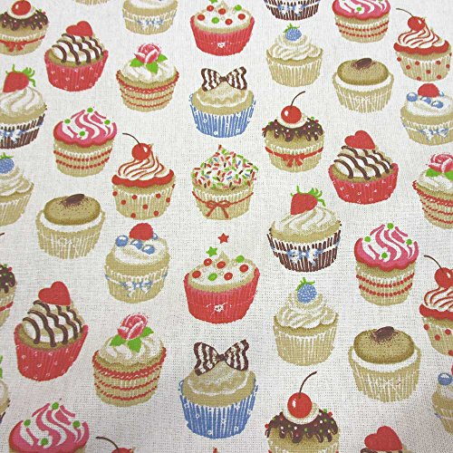 Stoff Meterware Baumwolle Muffins Cupcake weiß bunt Kuchen Küche (Küche Vorhänge Cupcakes)