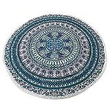 NANDNANDINI TEXTILE - Indische Mandala Runde Roundie Strand werfen Tapisserie Hippy Boho Gypsy Baumwolle Tischdecke Strandtuch, Runde Yoga-Matte, mit Quasten