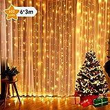 GlobaLink® 6×3M Lichterkette mit 600 LED-Lämpchen Lichtervorhang Licht Schnur, warm weiße Beleuchtung für Fenster, Weihnachten, Party, Outdoor, Hochzeit, Dekoration usw.