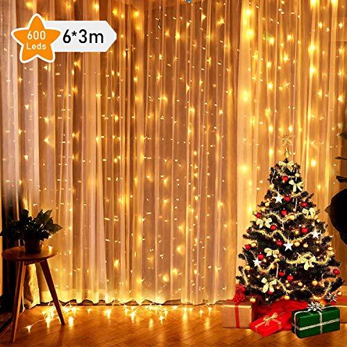 fenster beleuchtung GlobaLink® 6×3M Lichterkette mit 600 LED-Lämpchen Lichtervorhang Licht Schnur, warm weiße Beleuchtung für Fenster, Weihnachten, Party, Outdoor, Hochzeit, Dekoration usw.