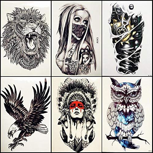 6 pezzi/lottp ragazza con maschera tatuaggi temporanei guerriero tribale indiano donna body arm art fake flash adesivi impermeabili per tatuaggi