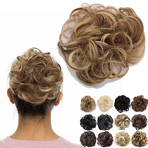 Haargummi Haarteil Dutt Synthetik Haare für Haarknoten Gummiband Hochsteckfrisuren Haarband Hellbraun/Mittelblond