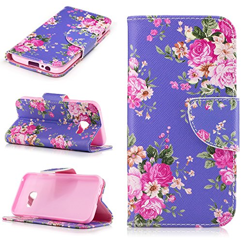 Price comparison product image Samsung Galaxy A3 2017 Case, Samsung Galaxy A3 2017 Case Cover Flip Wallet,  Cozy Hut PU Leather Case for Samsung Galaxy A3 2017 4.7 Inch Vintage Pattern Fashion Wallet Pocket Flip Cover Cell Phone Hoslter with Magnet Closure and Card Slots Holster Bookstyle Stand Function Protective Cover - Red rose