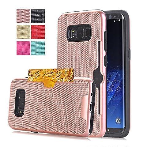 Coque en TPU porte carte Woven Design Hybride pour Samsung Galaxy S8 Plus G955 - Rose or