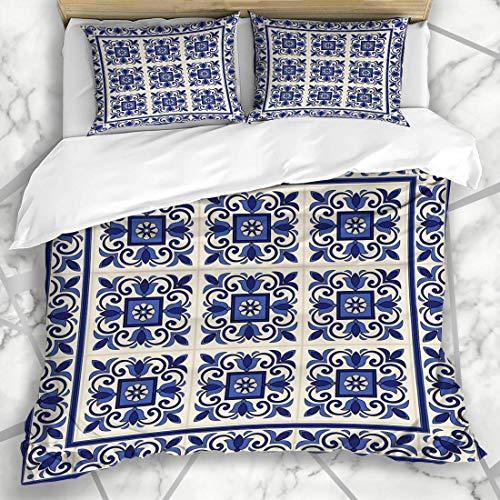 Bettbezug-Sets Patchwork Blau Portugiesisch Wunderschöne Muster Fliesen Grenze Marokkanischen Lissabon Vintage Spanisch Arabesque Mikrofaser Bettwäsche mit 2 Pillow Shams -