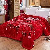 Rouge grand rouge fleur motif épaississement Raschel couvertures hiver Nap Nap...