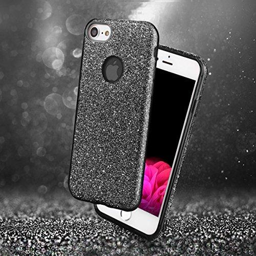 Für iPhone 8 Glitzer Hülle EGO® | TPU Handyhülle Glamour Schutzhülle weich Stoßfest Bumper – Schwarz Schwarz + Glas