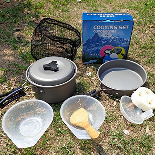Inovey Outdoor Camping Hiking Picnic Cooking Set Pot Pan Bowl Cookware
