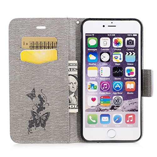Etsue iPhone 7 Plus Wallet Case,iPhone 7 Plus Flip Case, Cute Retro Design Butterfly Flower Embossing Pattern Pu Leather Flip Case Wallet Cover Book Style Type with Stand Card Holder Wrist Strap Magnetic Closure for iPhone 7 Plus +Blue Stylus Pen+Bling Glitter Diamond Dust Plug(Colors Random)-Butterfly,Gray