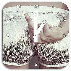 Idea Regalo - Frauenpo con dito medio, piazza orologio da parete diametro 28 centimetri con le mani bianche e il viso, oggetti di decorazione, Designuhr, composito di alluminio molto bello per soggiorno, studio