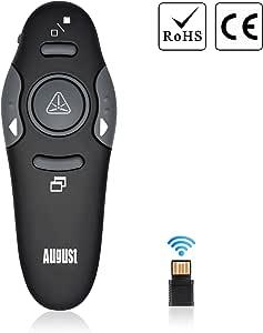 August LP205 Pointeur Laser Rouge Sans Fil Télécommande de Présentation Professionnelle PowerPoint Diaporama Windows et Mac Noir