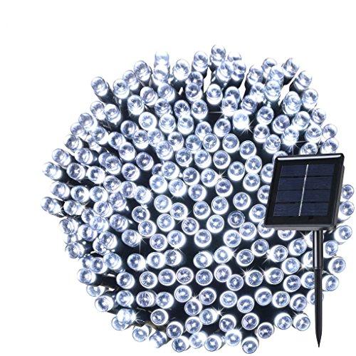 wasserdichte solar LED-Lichterkette ohne Strom solar Lichterkette 200 LEDs Außen Haus Terrasse Hof Weihnachten Party Garten Fenster DEKO Dämmerungs-Sensor Solar-Beleuchtung (weiß)