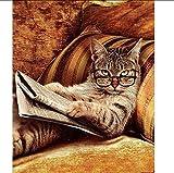 zlxzlx Gafas Gato Acostado En El Sofá Libro De Lectura Pintura Números Bky DIY Pintura Al Óleo Sobre Lienzo Cartel Sin Marco