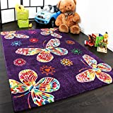 Paco Home Moderner Kinder Teppich Butterfly Schmetterling Design in Lila Top Qualität