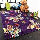 Moderner Kinder Teppich Butterfly Schmetterling Design in Lila Top Qualität, Grösse:160x230 cm