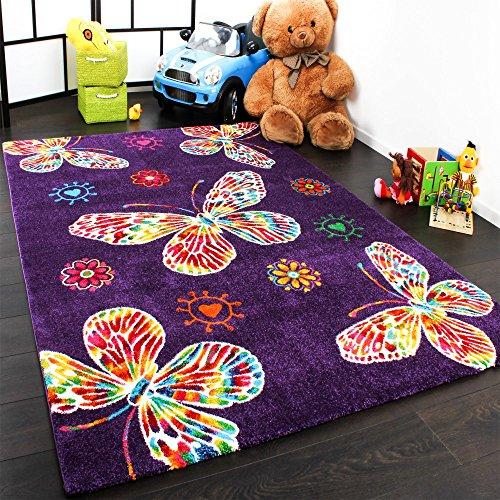 Moderner Kinder Teppich Butterfly Schmetterling Design in Lila Top Qualität, Grösse:80x150 cm