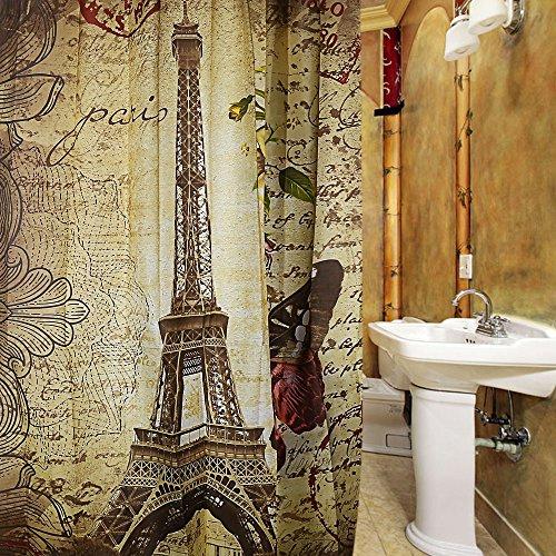 Retro Vintage diseño de cortina de ducha de la torre Eiffel Mariposa marrón patrón impermeable poliéster cortina de baño con 12hebillas de plástico
