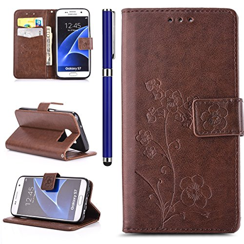 Price comparison product image FESELE Samsung Galaxy S7 Wallet Case Synthetic PU Leather Five Leaf Flowers PU Leather Case Book Style Magnetic Closure PU Leather Wallet Elegant Classic Flip Cover Case Card Slot and Banknotes Pocket with Hand Strap For Samsung Galaxy S7 + 1 x Blue Stylus Pen-Brown