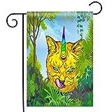 Violetpos Garten Flaggen Doppelseitiger Druck Home Dekoration Polyester Garden Flag Yellow Bobcats Katzen Grüne Tropische Pflanze Bäume 31x46cm