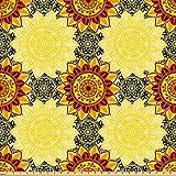 ABAKUHAUS Mandala Stoff als Meterware, Vibrierendes gelbes