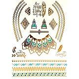 Miya® 1Stück Wild Style Metallic Tattoo, Flash Tattoos, temporär tattoo, Gold Schwarz Silber farbig Schmuck Tattoo für Körper Finger Arme, Halskette Armband Flash Tattoos Body Tattoo, Form 05