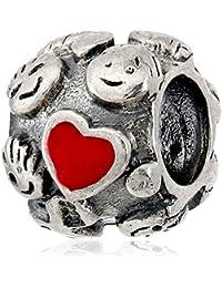 Everbling Happy familia Lazos Con Esmalte Rojo Corazón 925plata esterlina Pandora encanto pulsera