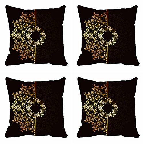 meSleep Brown Motif Cushion Cover (12x12)