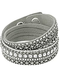 Swarovski Damen-Armreif Leder Kristall weiß 36 cm - 5270075