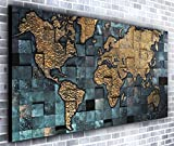 Map of the World Wall Décor Panoramic Canvas Wall Art Print Framed XXL 55 inch x 24 inch Over 4.5 ft Wide x 2 ft High Ready to Hang Canvas Print - Landscape Photograph - Modern Art - Canvas35 Ltd. - amazon.co.uk