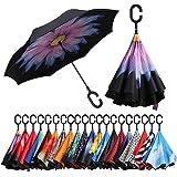 Amazon Brand - Eono Parapluie Inversé, Anti-UV Double Couche Coupe-Vent Parapluie, Parapluie Résistant au Vent, Parapluie Pli