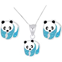 FIVE-D Children's Necklace and Earrings Set Panda Bear 925 Sterling Silver in Jewellery Case