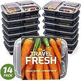Premium Fächer Mahlzeit Prep Container | hält Lebensmittel länger frisch | BPA frei, mikrowellengeeignet, stapelbar, Spülmaschinenfest, Lunch-Boxen mit Bonus Rezept Abo Black and transparent