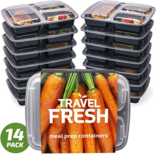 Premium Fächer Mahlzeit Prep Container | hält Lebensmittel länger frisch | BPA frei, mikrowellengeeignet, stapelbar, Spülmaschinenfest, Lunch-Boxen mit Bonus Rezept Abo Black and transparent (Premium Storage Box)