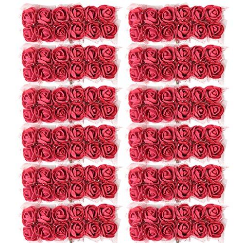 Baoblaze Künstliche Kleinen Rosen Bündel Blumen Foamrosen Schaumrosen Blumenstrauß Hochzeit Party DIY Dekoration Set/144Stück - Burgund, 2 cm (Brautsträuße Burgund)