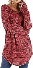SuperSU Frauen Große Größe Einfarbig Langarm Bluse Pullover Tops Shirt Damen Shirt Rundhals Falten Shirt Stretch Tunika Oberteil Tops Damen Langarmshirt Lässige Hemd Bluse Elegant Basic Tunika