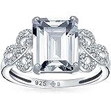 Bling Jewelry Pave Argento Sterling 925 Cubic Zirconia AAA CZ Celtico Amore Nodo 3CT Taglio Smeraldo Solitario Anello di Fida
