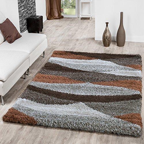 Alfombra de pelo largo con onda en beige marrón, crema y cobre para sala de estar LIQUIDACIÓN, 80 x 150 cm