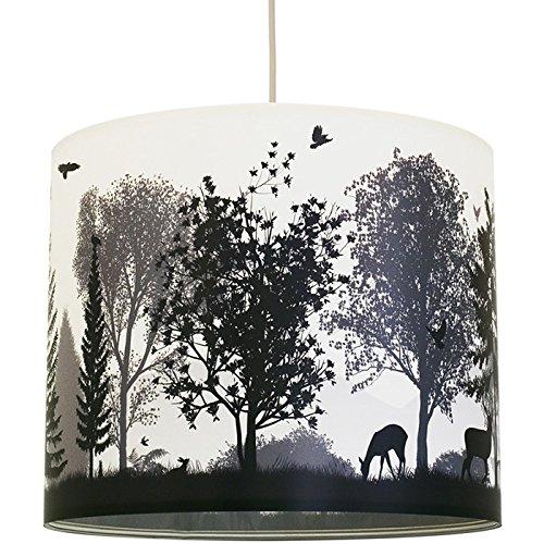 anna wand Lampenschirm QUIET REVOLUTION – Schirm für Lampen mit Wald-Motiv Grau/Weiß – Sanftes Licht für Tischleuchte / Stehlampe / Hängelampe im Wohnzimmer, Esszimmer, Schlafzimmer