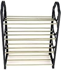 Ebee 4 Shelves 8 Pairs Metal Shoe Rack (Black)