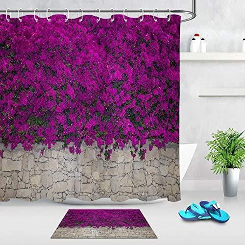 Jjjhj fiori che sbocciano sul muro di pietra tende da bagno tenda da bagno con stuoia set natura tessuto impermeabile per arredamento vasca 180x200cm