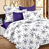 Ahmedabad Cotton Comfort 160 TC Cotton Bedsheet with 2 Pillow Covers - King Size, White and Purple