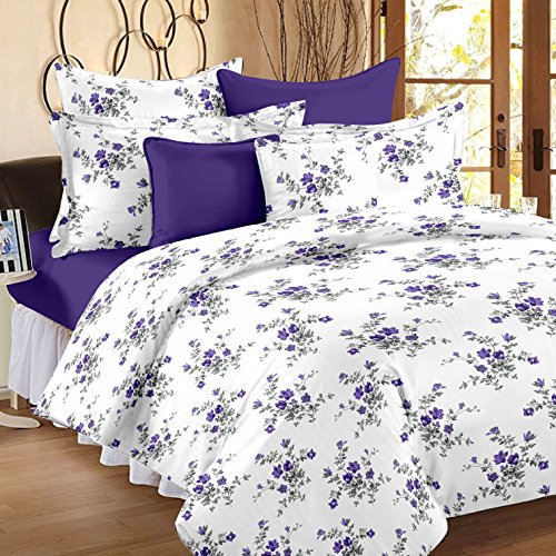 Ahmedabad Cotton Comfort 160 TC Cotton Double Bedsheet with 2 Pillow Covers - White and Purple
