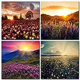 CUFUN Art - Bunte Blumen Lavendel unter Dem Sonnenaufgang Drucke auf Leinwand Wand Dekor Holzrahmen (30 x 30 cm x 4 Stücke)